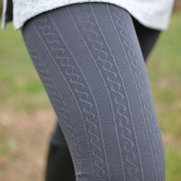 Warm In Grey Cable Knit Leggings