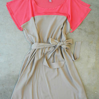 Coral & Taupe Colorblock Dress [3274] - $34.00 : Vintage Inspired Clothing & Affordable Summer Dresses, deloom | Modern. Vintage. Crafted.