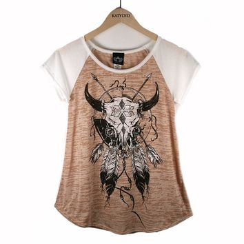 Katydid Feather Cow Skull Western Women's T-Shirt