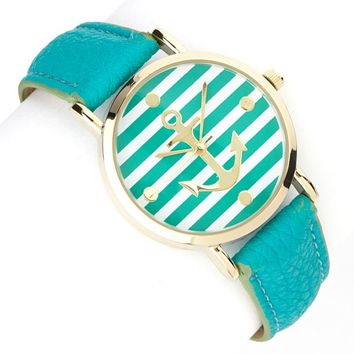 Katydid Striped Anchor Fashion Women's Watch