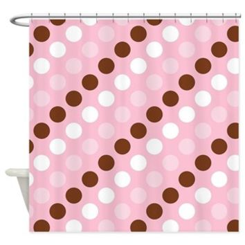 Polka Dots Shower Curtain> Polka Dots, Spots (Dotted Pattern)> Strawberry and Hearts