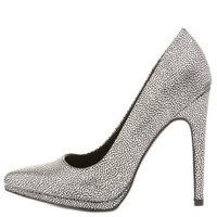 Metallic Textured Pointed Toe Pumps by Charlotte Russe - Silver