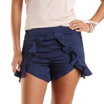 Satin High-Waisted Ruffle Shorts by Charlotte Russe - Navy