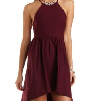 Strappy Racer Front Skater Dress by Charlotte Russe  Wine