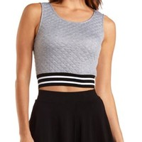Striped-Band Quilted Crop Top by Charlotte Russe - Heather Gray