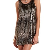 Mixed Sequin Shift Dress by Charlotte Russe - Black Combo