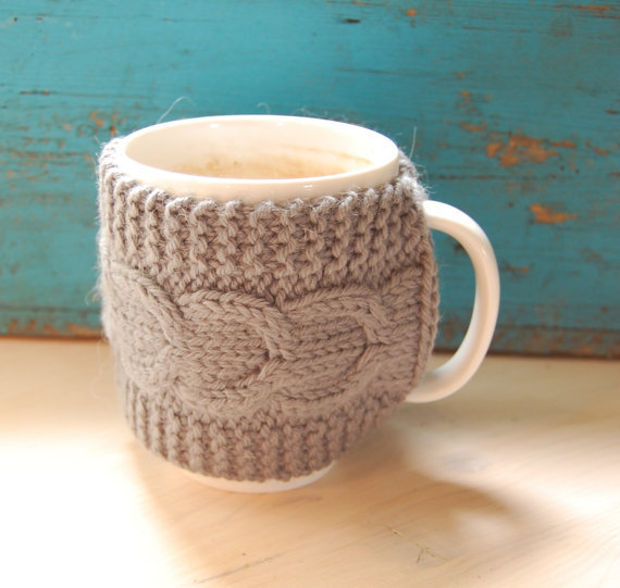 Knit Koozie Pattern : Knit coffee mug cozy with cable pattern, from MaruWool on Etsy