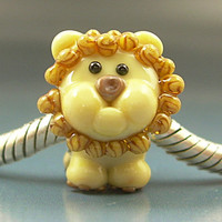 LION CUB Handmade Lampwork Glass Universal European Charm Big Hole Bead sra Gelly