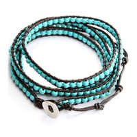 Turquoise Leather Knit Waistbelt Bracelet Green