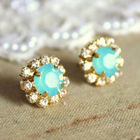 Crystal stud mint earring - 14k plated gold post earrings real swarovski rhinestones .
