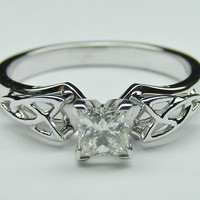 Engagement Ring - Princess Diamond Triquetra Celtic Engagement Ring in 14K White Gold - ES835PRWG