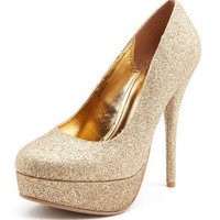 Golden Glitter Platform Pump: Charlotte Russe
