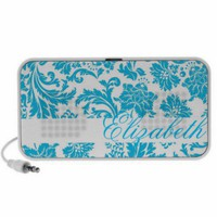 Personalized Aqua Damask Doodle Speakers