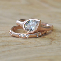 White Sapphire Teardrop Set in Rose Gold by Silverwoods on Etsy
