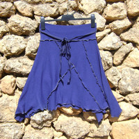 Upcycled Skirt - Asymetrical - Royal Blue By NuLifeClothing
