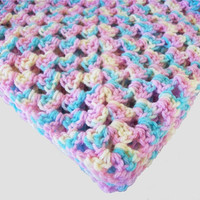 Granny Square Baby Blanket In Cotton Candy Pink, Purple, Yellow, and Blue By OneStitchDesigns
