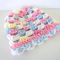 Girl Newborn Baby Hat in Pink White Yellow and Blue By OneStitchDesigns