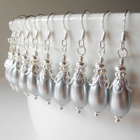 Wedding Jewelry Bridesmaids Earrings Set of 7 Dove Gray Pearl Teardrop Earrings in Silver Grey Wedding Bridesmaids Jewellery Beaded Dangles