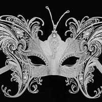 Luxury White Metal Filigree Masquerade Ball Mask with Diamante Crystals