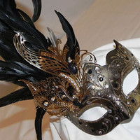 Reserved for ZeonKitty Feather Masquerade Mask in Black
