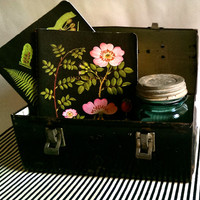Antique Lunch Box/ Tin Lunch Box/ Dome Lunch Box