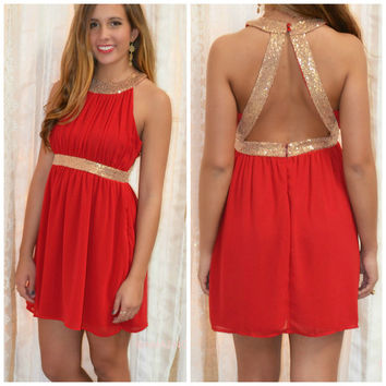 Get Your Shine On Red Sequin Cocktail Dress