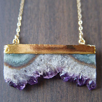 Amethyst Stalactite Druzy Necklace 14k Gold