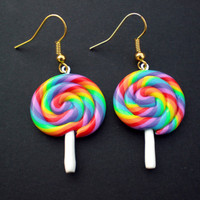 Rainbow Lolly Hanging Kawaii Earrings