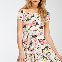 Boat Neck Floral Print Dress