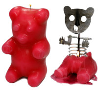"""Gummi Bear"" Skeleton Candle (Red)"