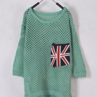Women Euro Style Hollow-out Knitting Sweater Pocket Long Sleeve Green One Size @WH0178gr $15.55 only in eFexcity.com.