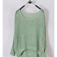 Women Euro Style Hollow-out Bat-wing Sleeve Scoop Asymmetrical Green Knitting Sweater One Size @WH0183gr $16.51 only in eFexcity.com.
