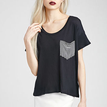 Boxy Striped Pocket Tee