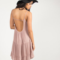 Tiered U-Back Babydoll Dress - Mauve - Mauve /