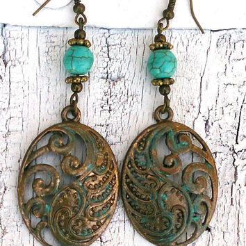Turquoise Floral Earrings Antique Gold Verdigris Patina