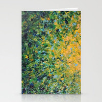 IRISH SUNRISE - Beautiful BOLD Lime Kelly Forest Green Sunrise Sunset Abstract Nature Painting Stationery Cards by EbiEmporium | Society6