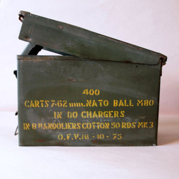 Big M80 Ammo Box Circa 1950 // Urban VINTAGE INDUSTRIAL // Metal Box // Container // Office // Studio // Organization // Storage // Can