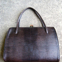 Fifties brown Kelly bag faux leather lizard vinyl by posypower