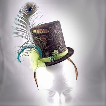 Handcrafted Top Hat Headband - Peacock Beauty. Be Yourself! ~A Unique Accessory for a Unique You~ | Creative Caboodle