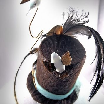 Mini Top Hat Hair Clip, Parrot Feathers, Humming Birds, Wire Swirls, Embossed Felt, Tulle, Fascinator | Creative Caboodle