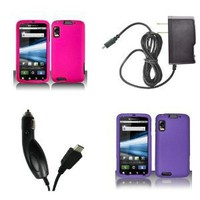 Motorola Atrix 4G (AT&T) Premium Combo Pack - 2 Hard Rubberized Cover Cases (Hot Pink, Purple) + FREE Atom LED Keychain Light + Wall Charger + Car Charger: Cell Phones & Accessories