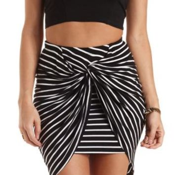 Twisted Knot High-Low Tulip Skirt by Charlotte Russe  BlackWhite