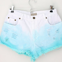 SALE - Dip dyed Turquoise High Waisted Shorts