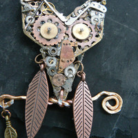 steampunk owl necklace ooak gears watch parts  copper chain steampunk gothic fantasy gypsy boho style