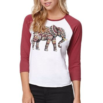 Riot Society Ornate Elephant Raglan T-Shirt  Womens Tee