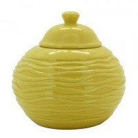 Yellow Ceramic Fire Pot / Candle Holder