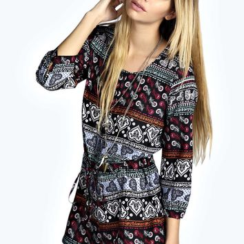 Carol Button Front 34 Sleeve Oversized Playsuit