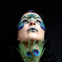 Peacock masquerade mask with crystals, handmade