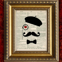 Dictionary Art Print Paris MUSTACHE MAN French VIntage Art Print Book Page Art Print 8x10 Recycled Upcycled