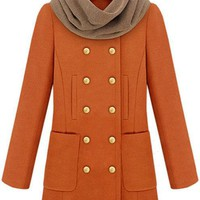 Double Breasted Wool Coat Orange$99.00